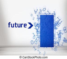 puerta, a, futuro