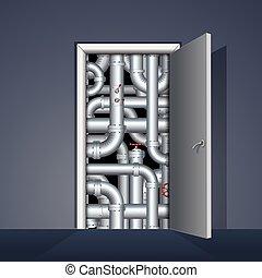 puerta, a, sala de calderas