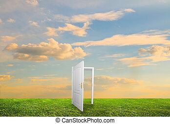 puerta abierta, a, nueva vida