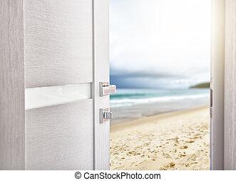 puerta abierta, con, acceso, a, el, playa