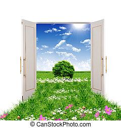 puerta abierta, primero, a, verano