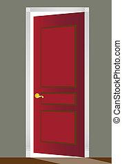 puerta abierta, rojo