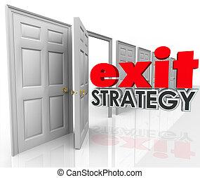 puerta, acuerdo, estrategia, licencia, salida, plan, escape...