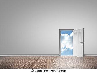 puerta, apertura, a, revelar, soleado, cielo azul