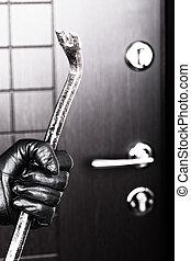 puerta, apertura, mano, interrupción, tenencia, ladrón, palanca