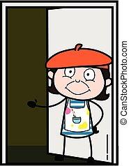 puerta, artista, caricatura, posición