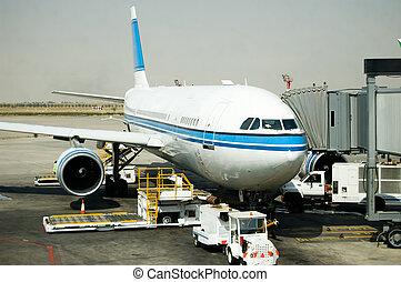 puerta, avión, estacionamiento