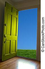 puerta azul, apertura, cielo, hierba verde