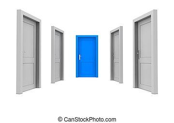 puerta azul, elegir