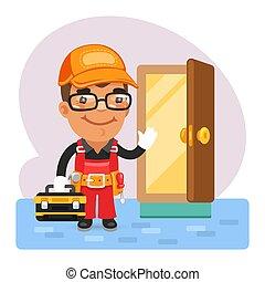 puerta, caricatura, cerrajero, abierto