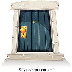 puerta, caricatura