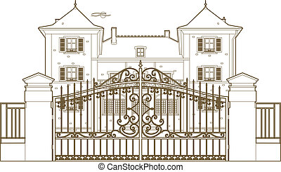 puerta, castillo, diseño, atrás