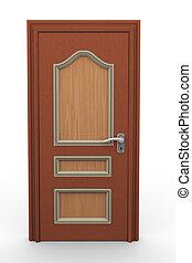 puerta, cerrado, 3d