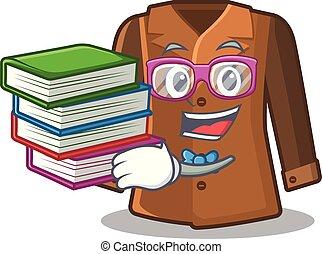 puerta, chamarra, atrás, libro, estudiante, colgado, caricatura