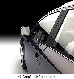 puerta, coche, moderno, dinámico, conductor, vista