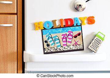 puerta, colorido, refrigeradores, texto, vacaciones, foto,...