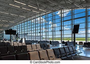 puerta de abordaje, aeropuerto, escena