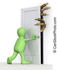 puerta de cierre, títere, 3d