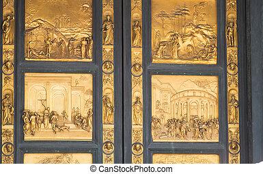 puerta, de, el, baptistery, de, san, giovanni.