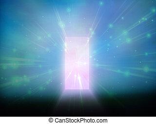 puerta, de la luz