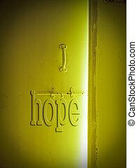 puerta de madera, concepto, esperanza