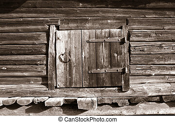puerta de madera, en, rural, granero, sepia