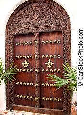puerta de madera, tallado, stonetown
