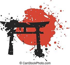 puerta de torii, japón, arte, empate