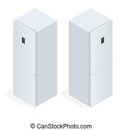 puerta del refrigerador, con, handle., plano, 3d, vector, isométrico, ilustración