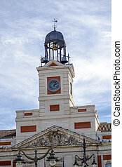 Puerta del Sol in center of Madrid Spain - Madrid Town Hall clock tower Spain