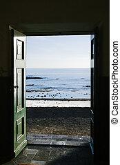 puerta, depresión, océano
