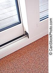 puerta, detalle, corredizo, carril, embed, vidrio, piso