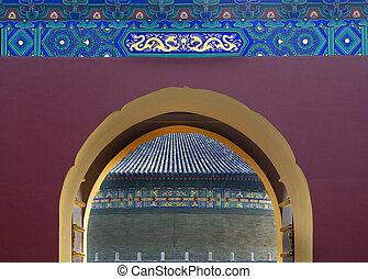 puerta, detalles, templo cielo, beijing, china