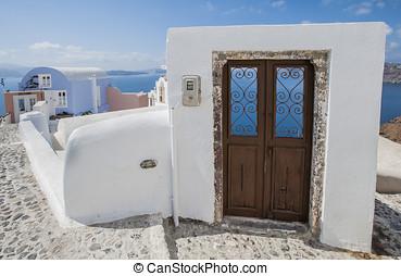 puerta, en, isla de santorini