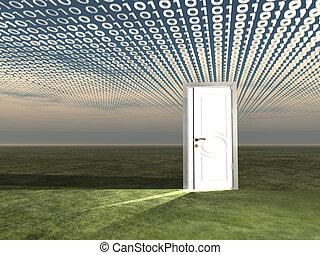 puerta, en, paisaje, con, binario, correr