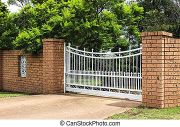puerta, entrada, entrada de coches, enladrillado