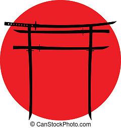 puerta, espadas, japonés, torii
