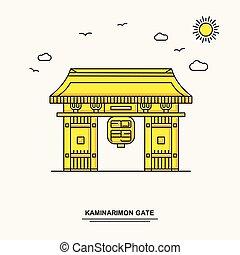 puerta, estilo, kaminarimon, naturaleza, cartel, viaje,...