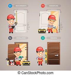 puerta, factótum, paso, instalación, carpintero