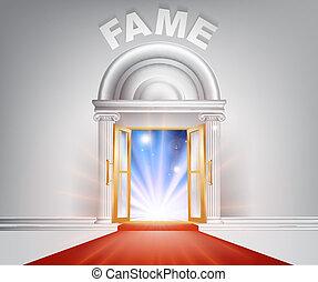 puerta, fama, alfombra roja
