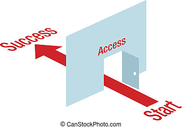 puerta, flecha, éxito, acceso, por, manera, trayectoria