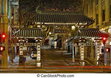 puerta, francisco, chinatown, san, noche