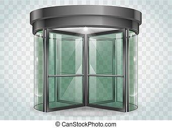 puerta, giratorio, centro comercial