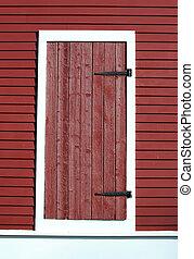 puerta, granero rojo