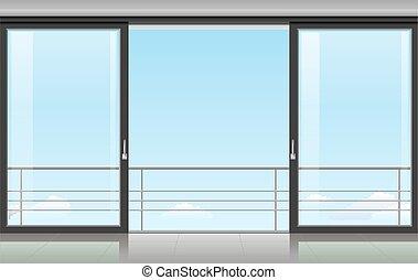 puerta, habitación, corredizo