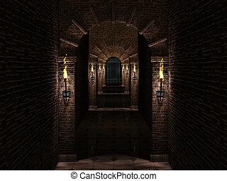 puerta, hierro, castillo, medieval, pasillo