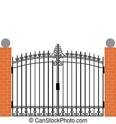puerta, hierro
