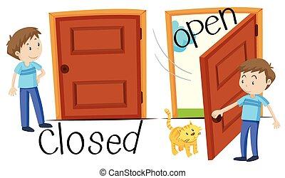 puerta, hombre, abierto, cerrado