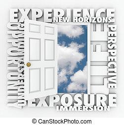 puerta, horizontes, primero, experiencia, nuevo, oportunidad, abre