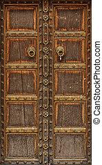 puerta, madera, antiguo